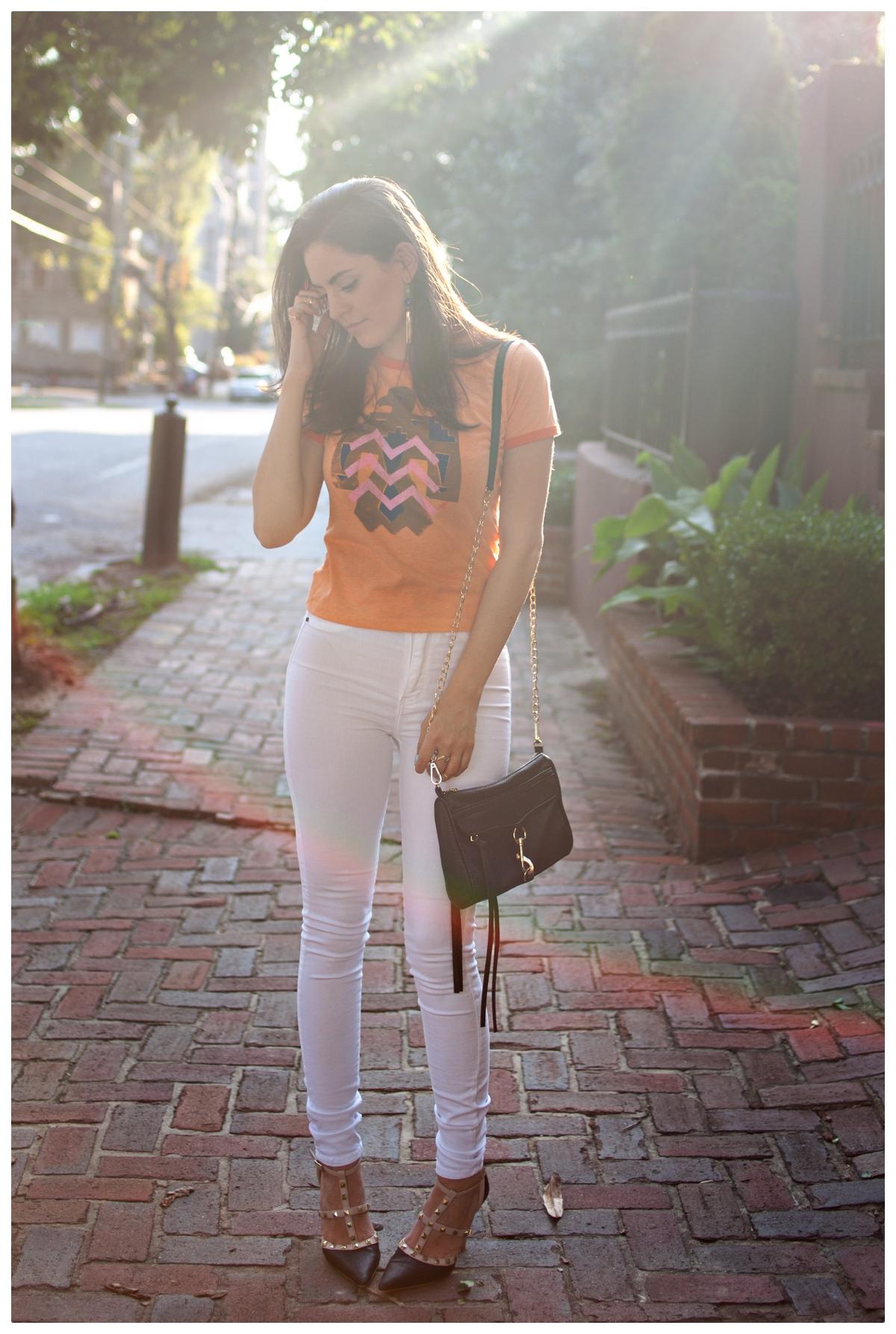 rockstud, white jeans, tribal, silk screen