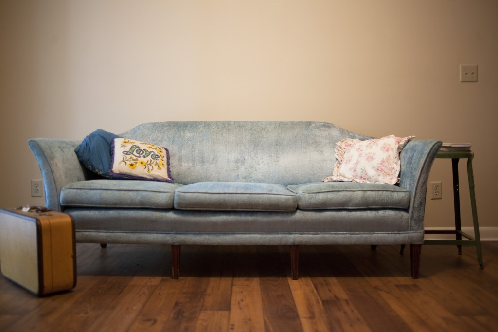 blue, vintage couch