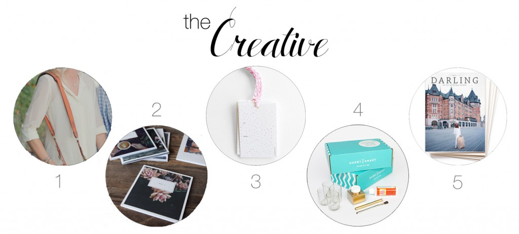 gift guide for creatives, darling magazine, artifact uprising, Lana's Shop, Fotostrap, Darby Smart, gift ideas
