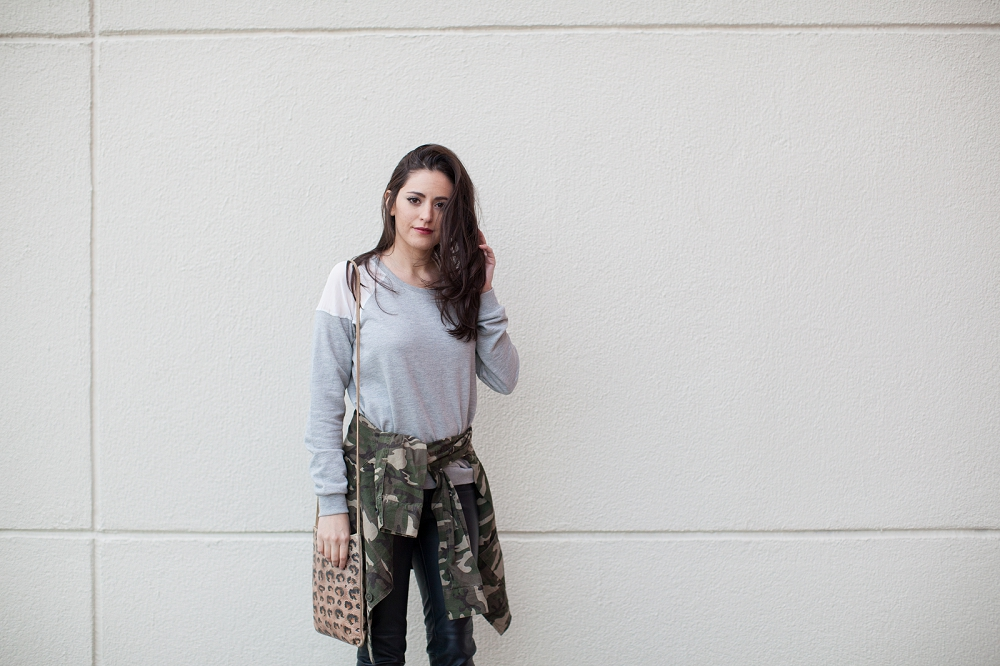 camo jacket, leather pants, style, fall, winter, leopard, grey, target, riffraff, h&m