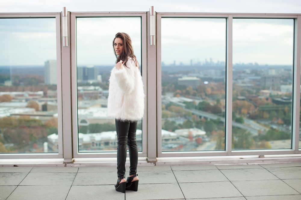 white faux fur coat, riffraff