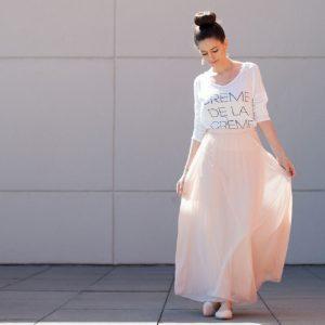 blush pink maxi skirt, modern ballerina