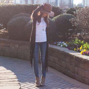 fringe jacket, brown felt hat, free people
