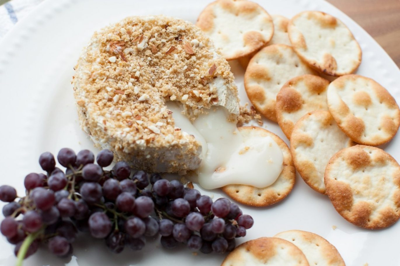Goat Cheese Baked Brie with Crushed Almond Crust