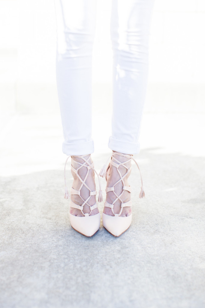 atlanta style blogger, spring style, casual style, tassels, schutz ZORA LACE UP PUMPS, pleione, white denim, white jeans, taxidermy zippy, spring style, summer style