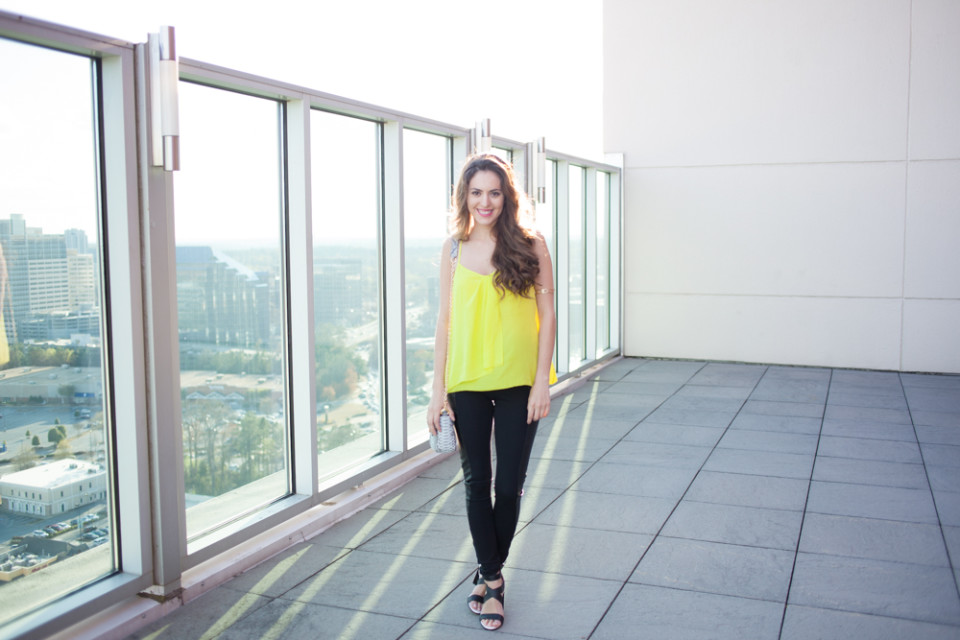 sporty style, sporty chic, belk, trina turk, svelte, french connection, spring style, sporty spring style, neons, neon and black, atlanta style blogger, taxidermy, charleston fashion week