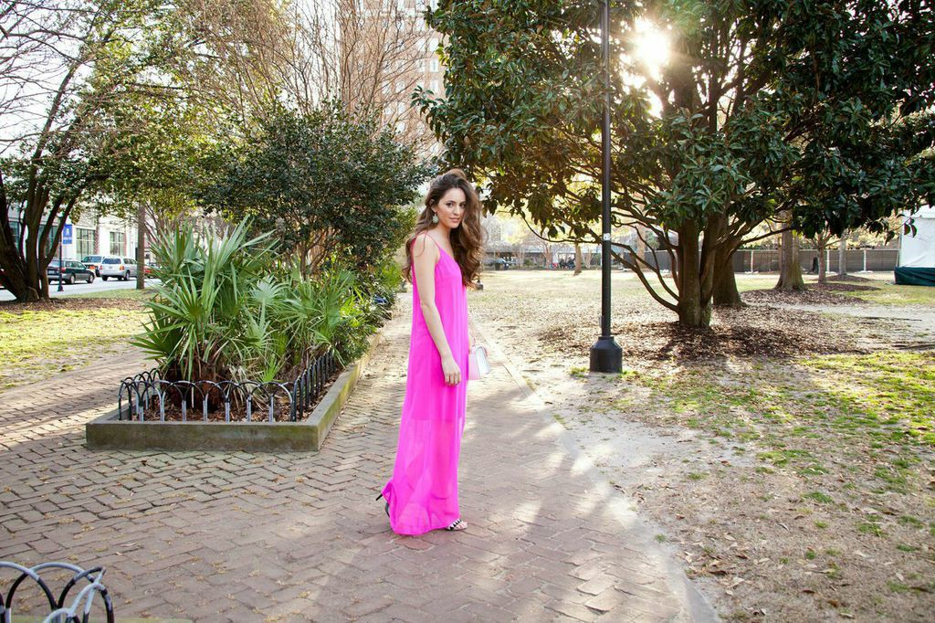 Belk, CHSFW, Charleston Fashion Week, Trina Turk, Travel, pink maxi dress, spring style, summer style, Atlanta style blogger, day to night outfit