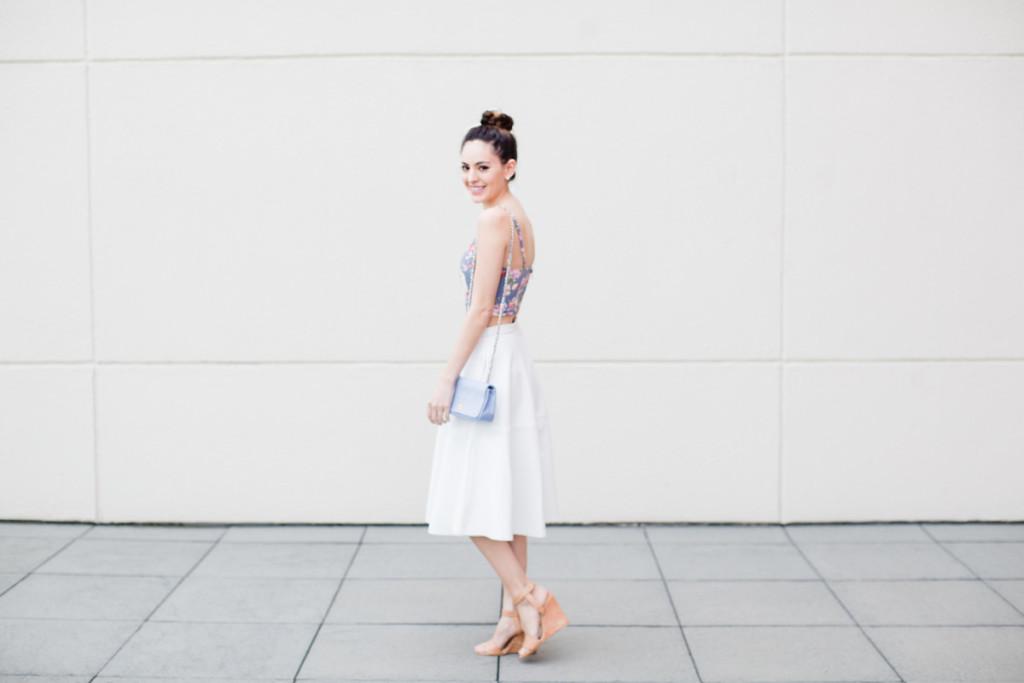 garden party outfit ideas, floral crop top, white leather skirt, white midi skirt, leather midi skirt, braided bun, chanel, atlanta style blogger