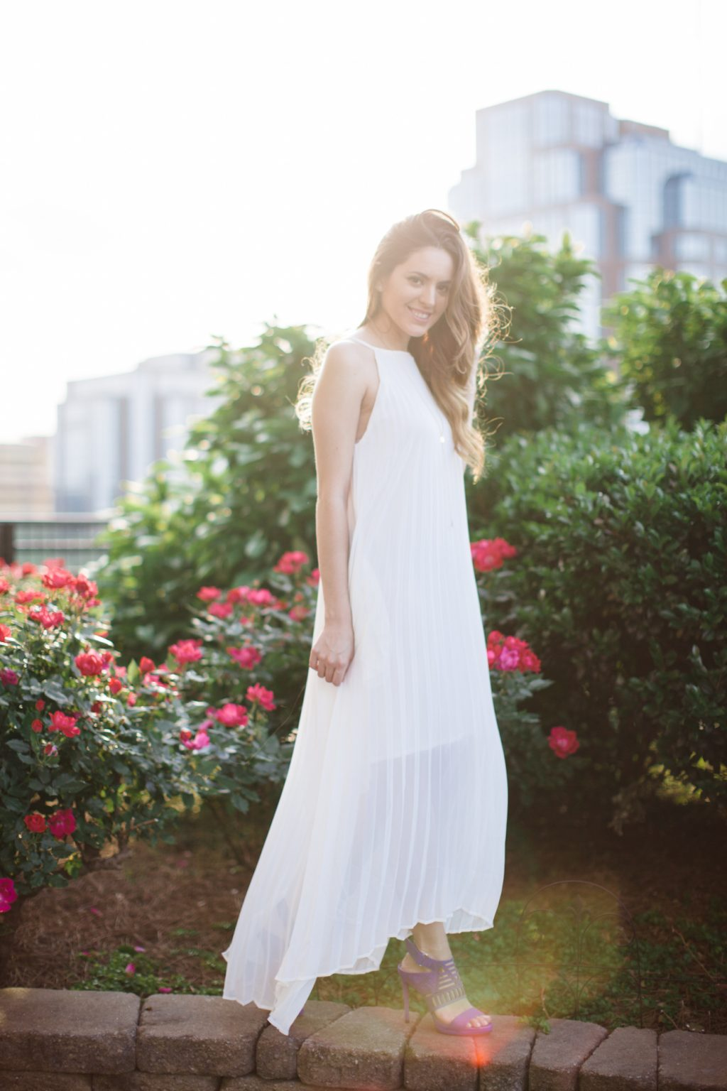 white, bridal, summer white, white maxi dress, summer style, spring style, backlight, golden hour,  white dress, chicwish Chiffon Pleated Maxi Slip Dress in White, kenneth cole Niko Cutout Suede Heel electric blue