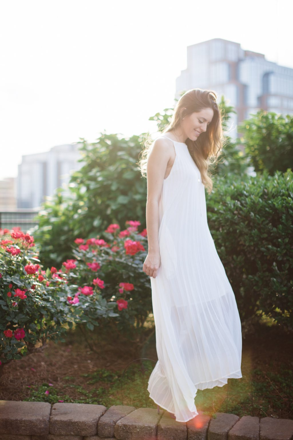 white, bridal, summer white, white maxi dress, white dress, summer style, spring style, backlight, golden hour, chicwish Chiffon Pleated Maxi Slip Dress in White, kenneth cole Niko Cutout Suede Heel electric blue