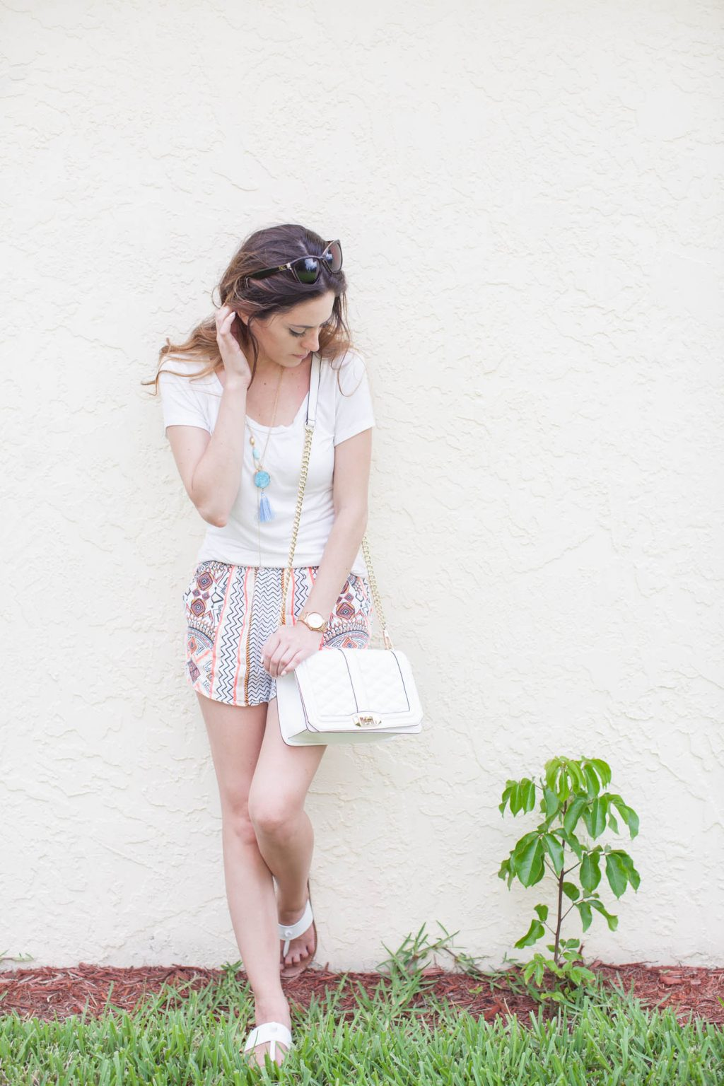 MINKPINK Space Cowboy Shorts, lunch date, casual summer style, tribal printed shorts, rebecca minkoff love crossbody in white, white sandals