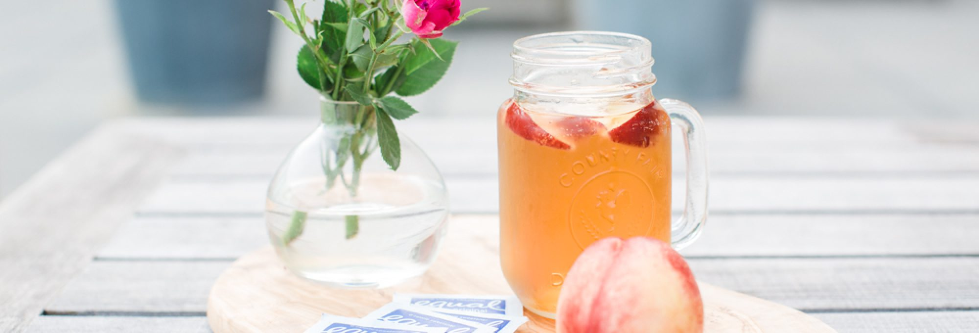 sweet iced tea recipe, equal zero calorie sweetener, peach iced tea, how to make iced tea