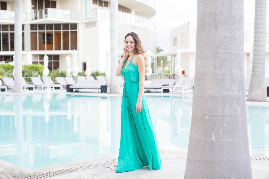 st regis bal harbour, calypso st barth, Batinly V-Neck Maxi Dress, turquoise maxi dress, miami beach, summer style