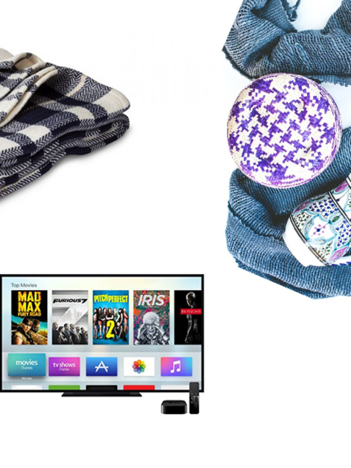 netflix and chill, gift guide, holiday gift ideas, homebody, apple tv, cute and comfy pajamas, wine accessories, cozy blanket, plaid blanket, faux fur blanket, cozy box