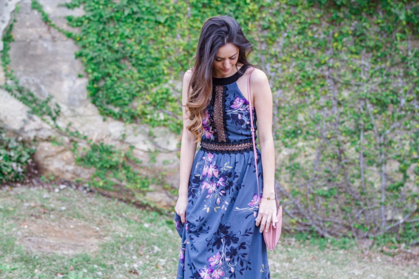 aerosoles glossary wedge sandals, LITTLE MISTRESS FLORAL PRINT AND LACE MAXI DRESS, winter to spring transitional outfit, early spring outfit ideas, tom ford pink cross body bag