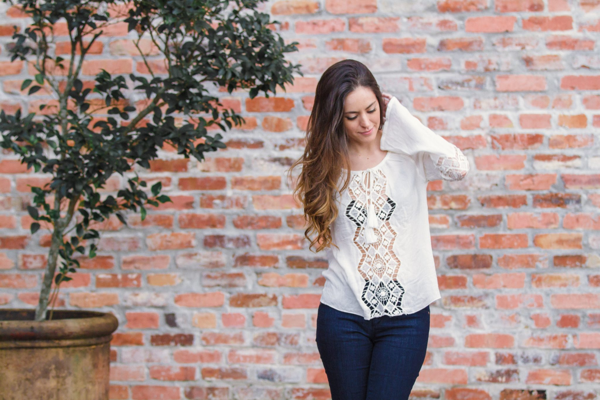 boho casual, embroidered top, cutouts, cutout nude wedges, flares, boho winter, casual style