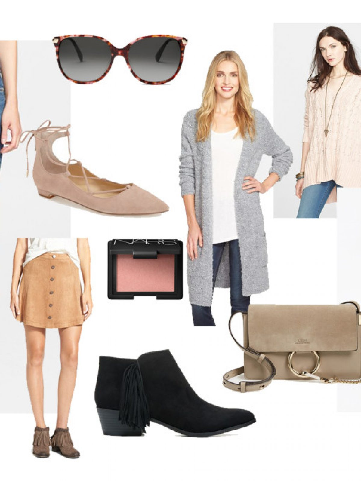 spring shopping list, ripped skinny jeans, grey sweater, trench coat, strappy ballet flats, chloe crossbody bag, tortoiseshell sunglesses, dusty rose lipstick, rose quartz lipstick, nars orgasm blush, faux suede skirt