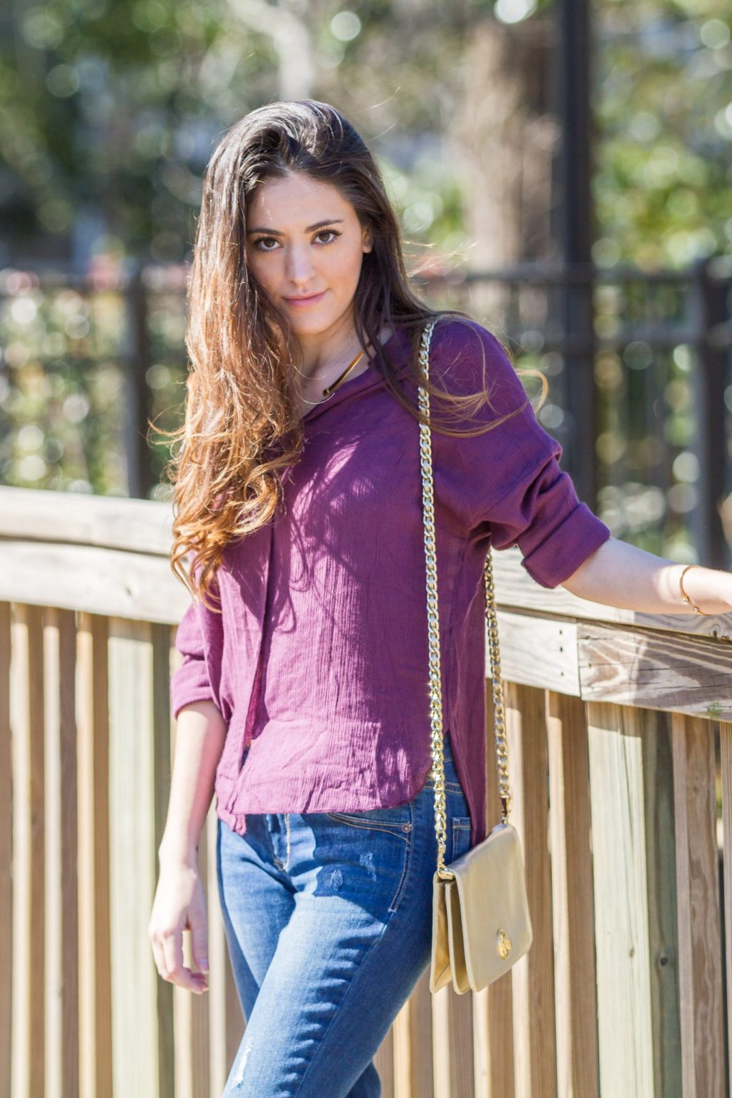 plum top, winter to spring transition outfits, nude lace-up flats, spring style, boyfriend jeans, chicwish, old navy, casual style