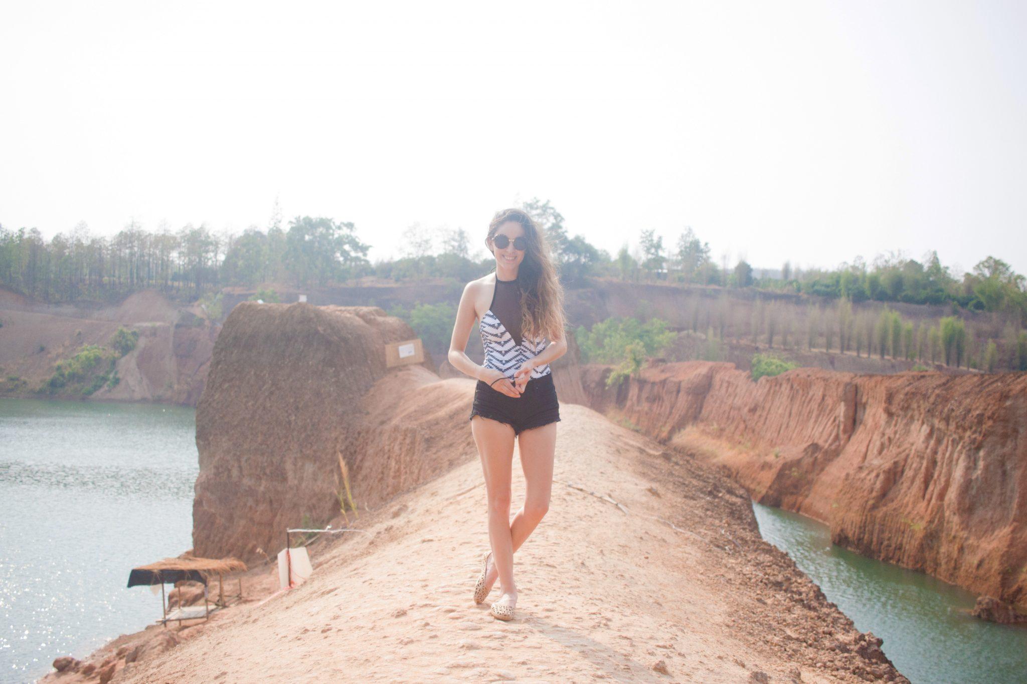 chiang mai canyon, cliff jumping in chiang mai, cliff jumping in thailand, chiang mai grand canyon, mox shoes, Khongboon swimwear