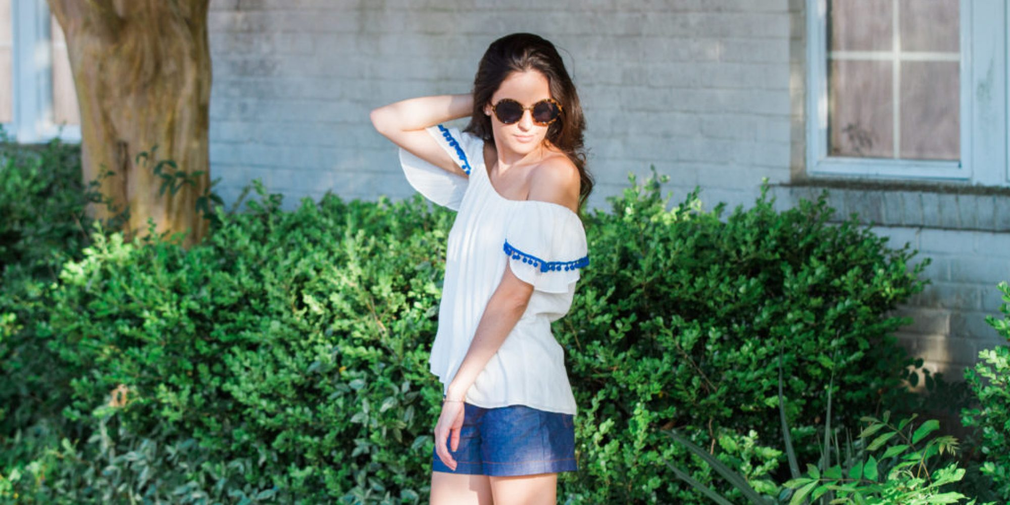 poms, off the shoulder, summer style, casual style