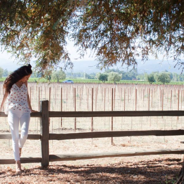 napa valley, cooper and ella, watermelon print mila ruffle cami, st. supery winery, durant and booth, california cool, white denim