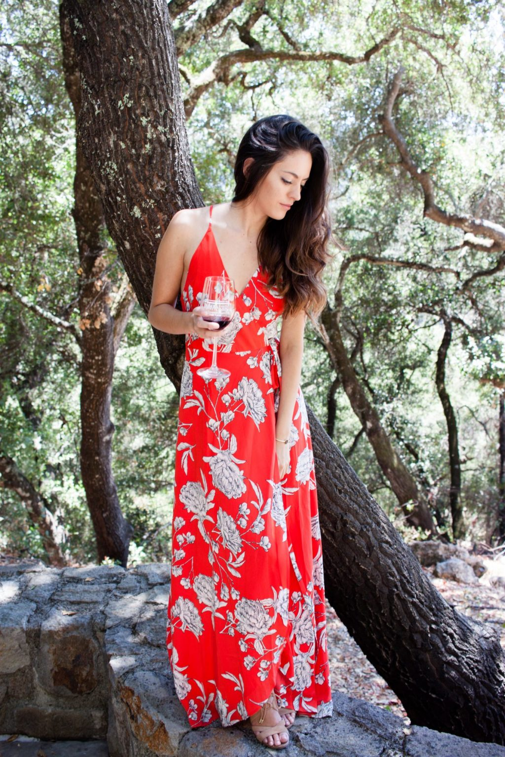hall wines, rombauer winery, somerston estate wines, napa valley, wine country, what to wear in napa, maxi dress, yumi kim Rush Hour Maxi Dress in Red Carnation, Sam Edelman Yardley Lace Up Sandals, napa valley wineries, perata luxury tours