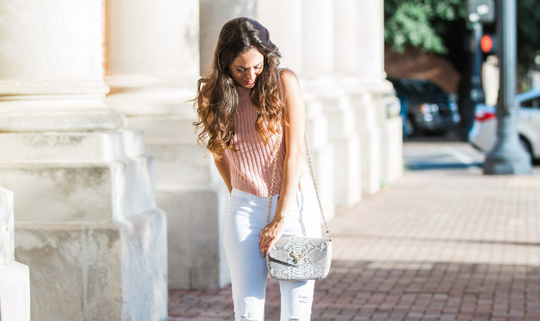 pink and white, casual elegance, stylish summer outfits, taxidermy bags, how to style white ripped jeans, lush to blush, atlanta style blogger, trendy style, glam weekend looks, python crossbody