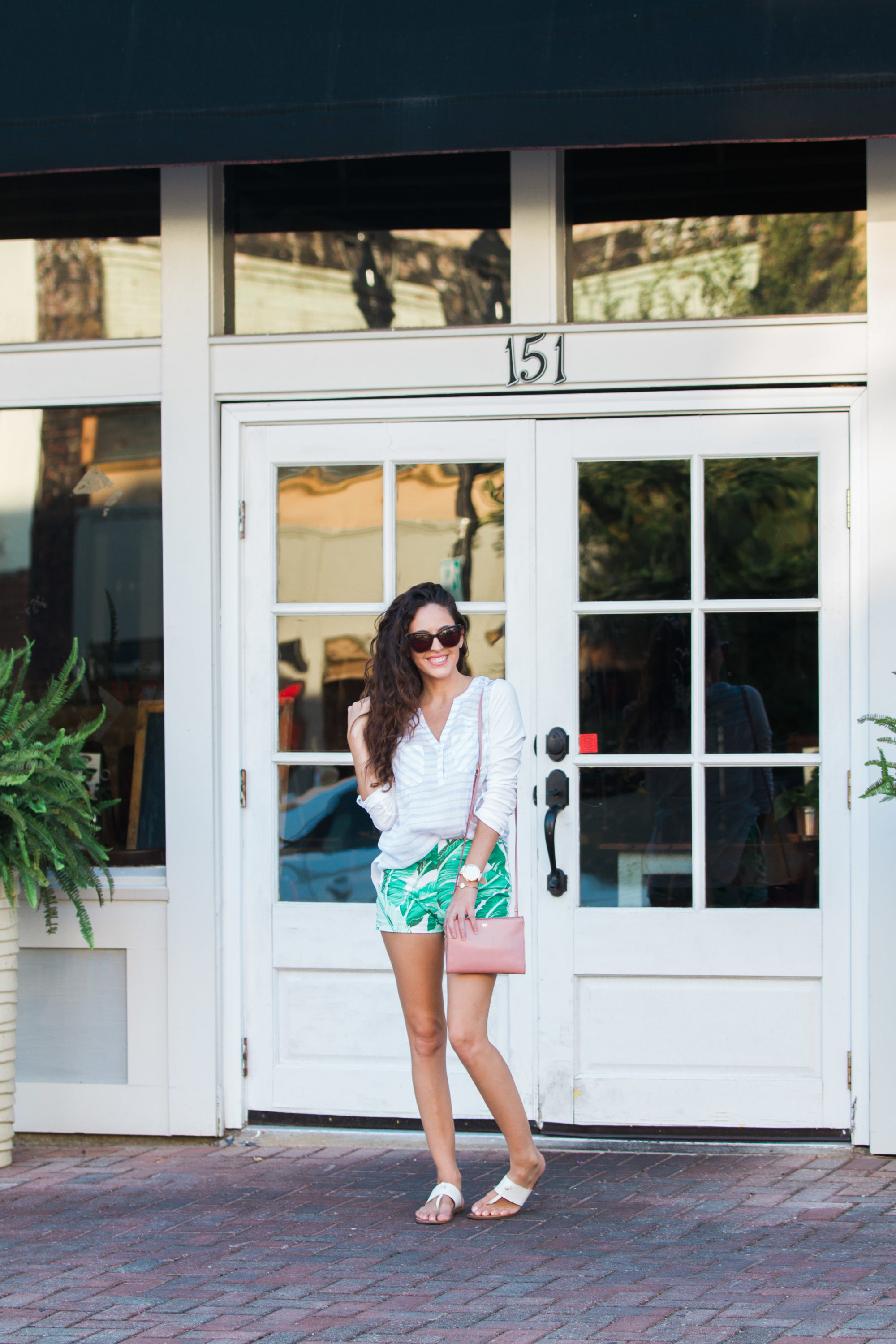 palm shorts, late summer outfit, colorful summer style, pastel outfit ideas, tom ford bag, southern style, casual style
