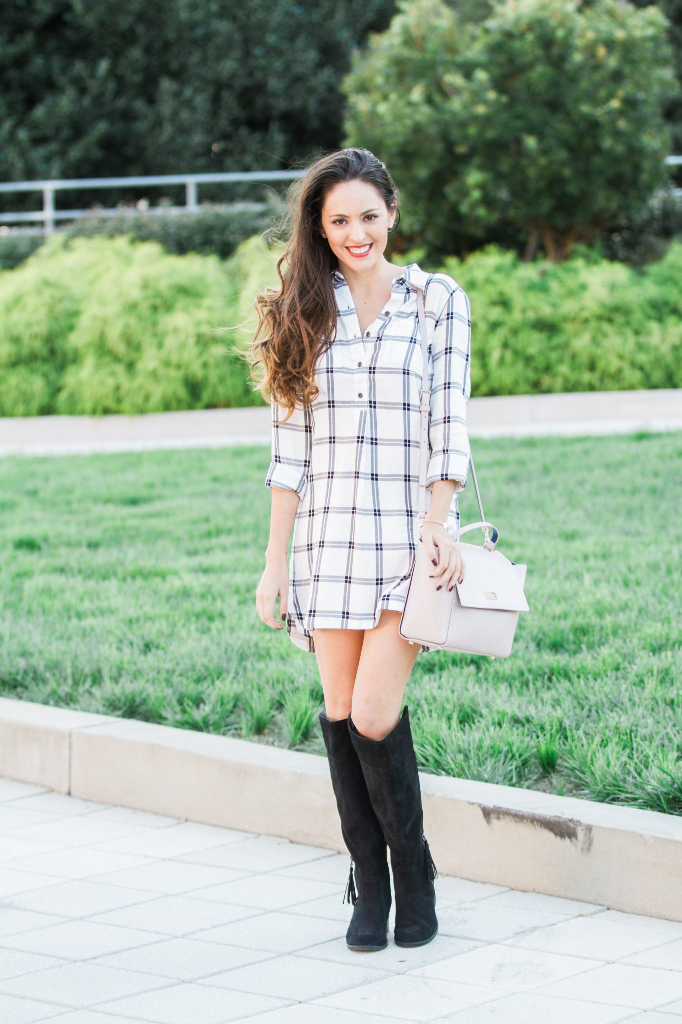 where to shop in atlanta, shopping in atlanta, indigo rd alluring 2 boots in black, plaid dress, belk, how to wear a dress with boots, otk boots, over the knee boots, kate spade ARBOUR HILL LILAH, fall style, classic fall style, casual fall style, shopping outfit ideas, fall outfit ideas