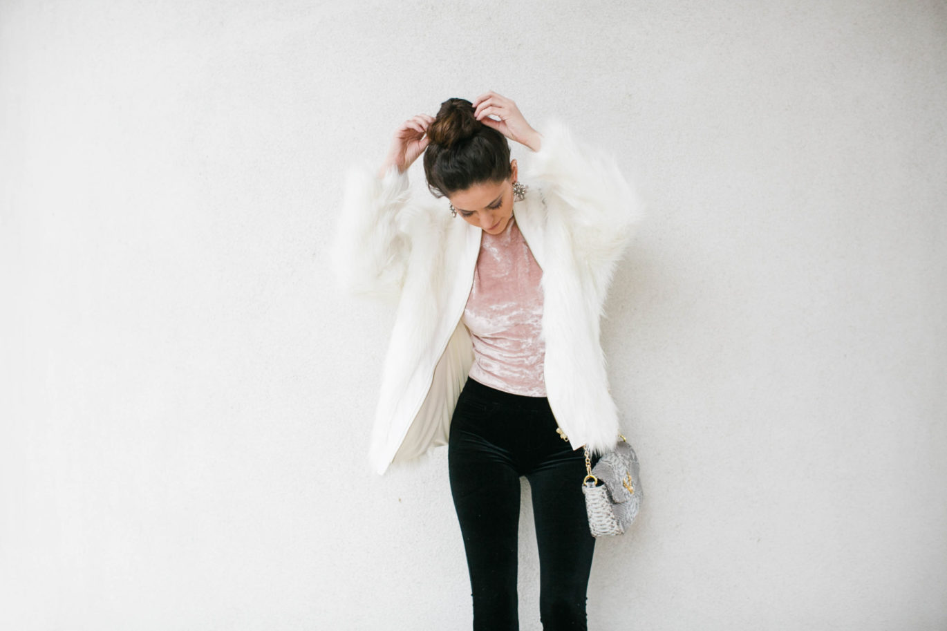 glam new year's eve, nye outfit ideas, what to wear for new year's eve, fancy nye style, nye outfit ideas, how to wear velvet, how to wear crushed velvet, how to wear a big fur coat, Blank Denim Velvet Flare Jeans, BB Dakota Hatherley Crushed Velvet Bodysuit