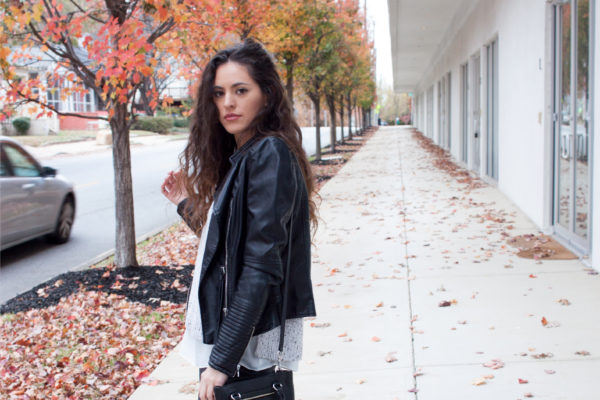 black over the knee boots flat, faux leather jacket, how to wear otk boots in the winter, simple fall style, casual cool fall style, rebecca minkoff black crossbody, rebecca minkoff side zip mini regan tote, atlanta style blogger, fall in the south, winter in the south, southern blogger