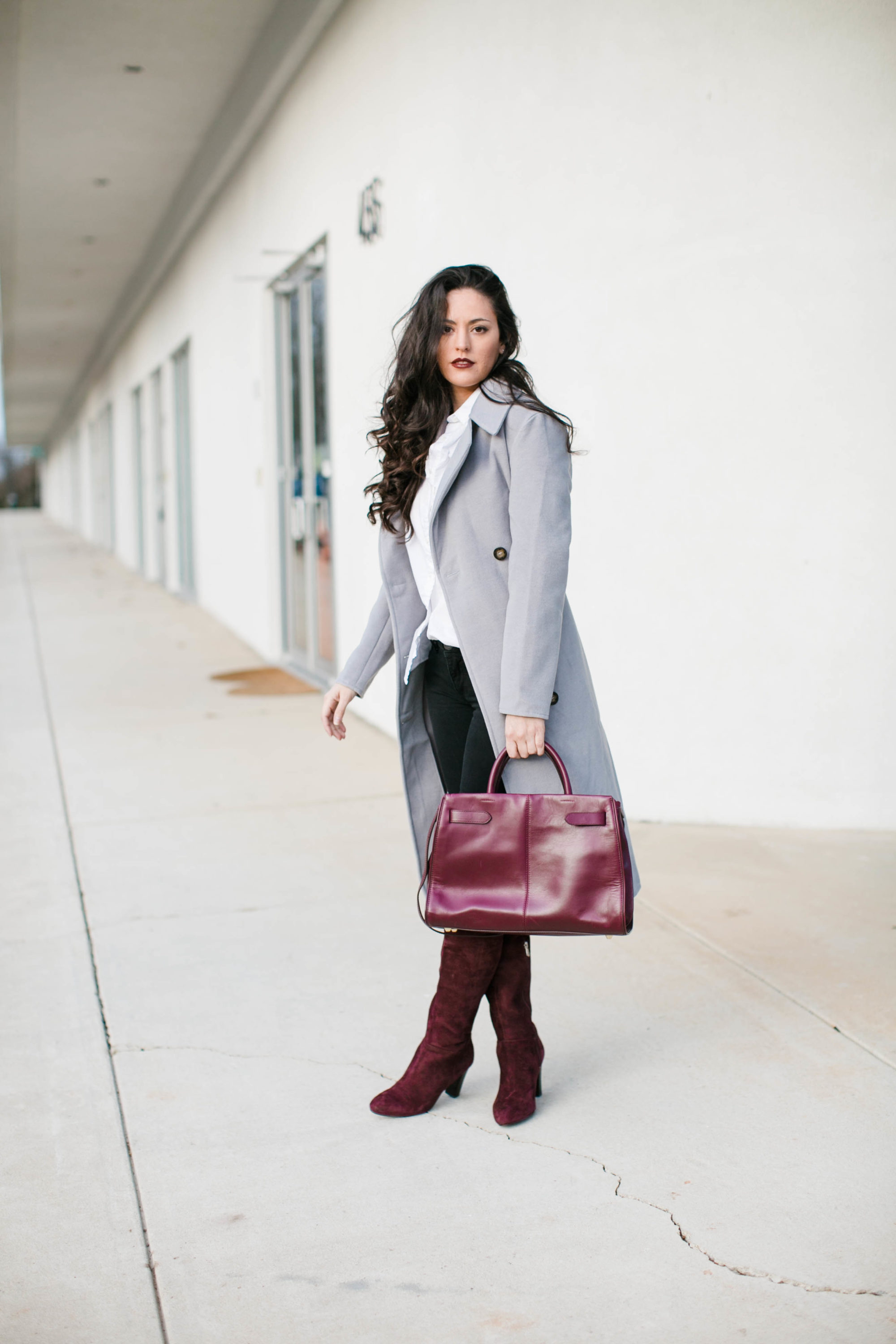 wine otk boots, wine over the knee boots, wearing color in the winter, wine winter wardrobe, grey winter coat, merlot lip color