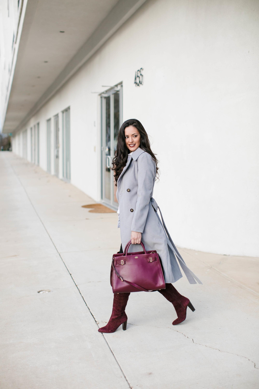 wine otk boots, wine over the knee boots, wearing color in the winter, wine winter wardrobe, grey winter coat, merlot lip color