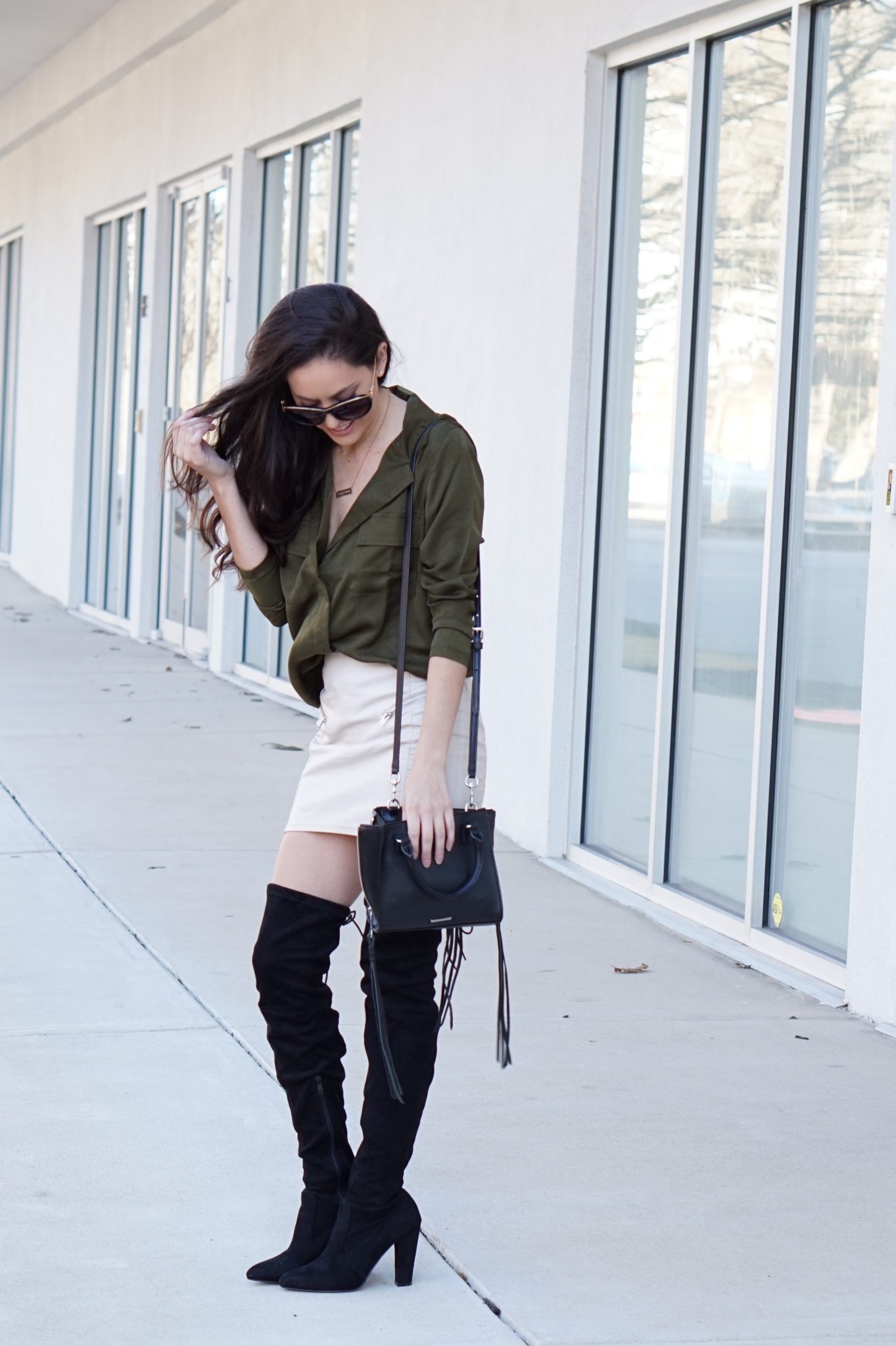 how to wear otk boots with a skirt, black otk books, public desire boots, fall style, winter style, atlanta style blogger
