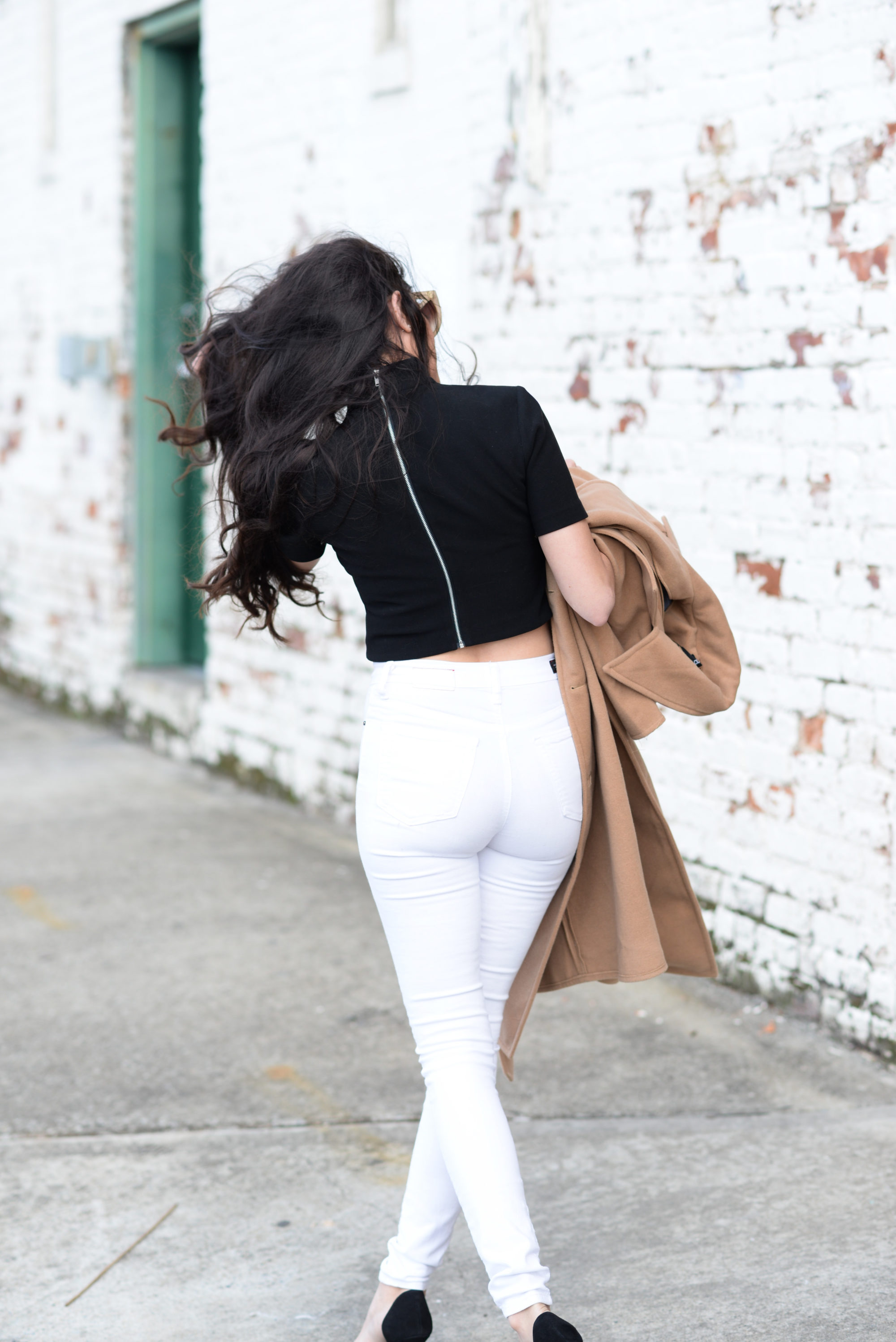 black and white, how to wear black and white, neutral outfit ideas, winter outfit ideas, winter style, classic style, neutrals for winter, likely crop top, white jeans, how to wear white jeans in winter, classic style