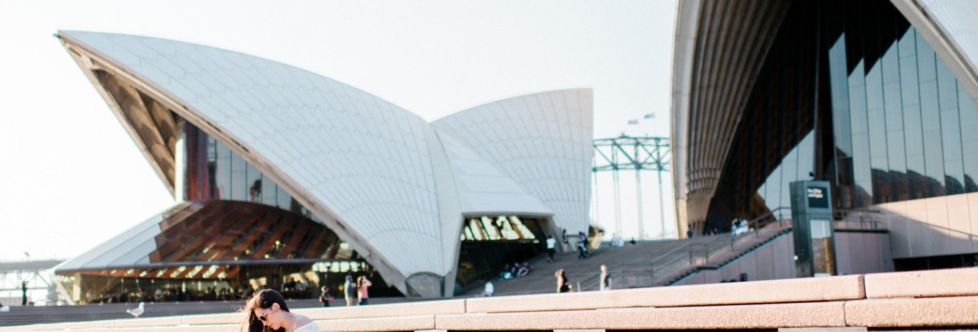 Sydney Opera House, sydney travel guide, what to do in sydney, summer outfit ideas, sydney bridge, off the shoulder bell sleeve crop top