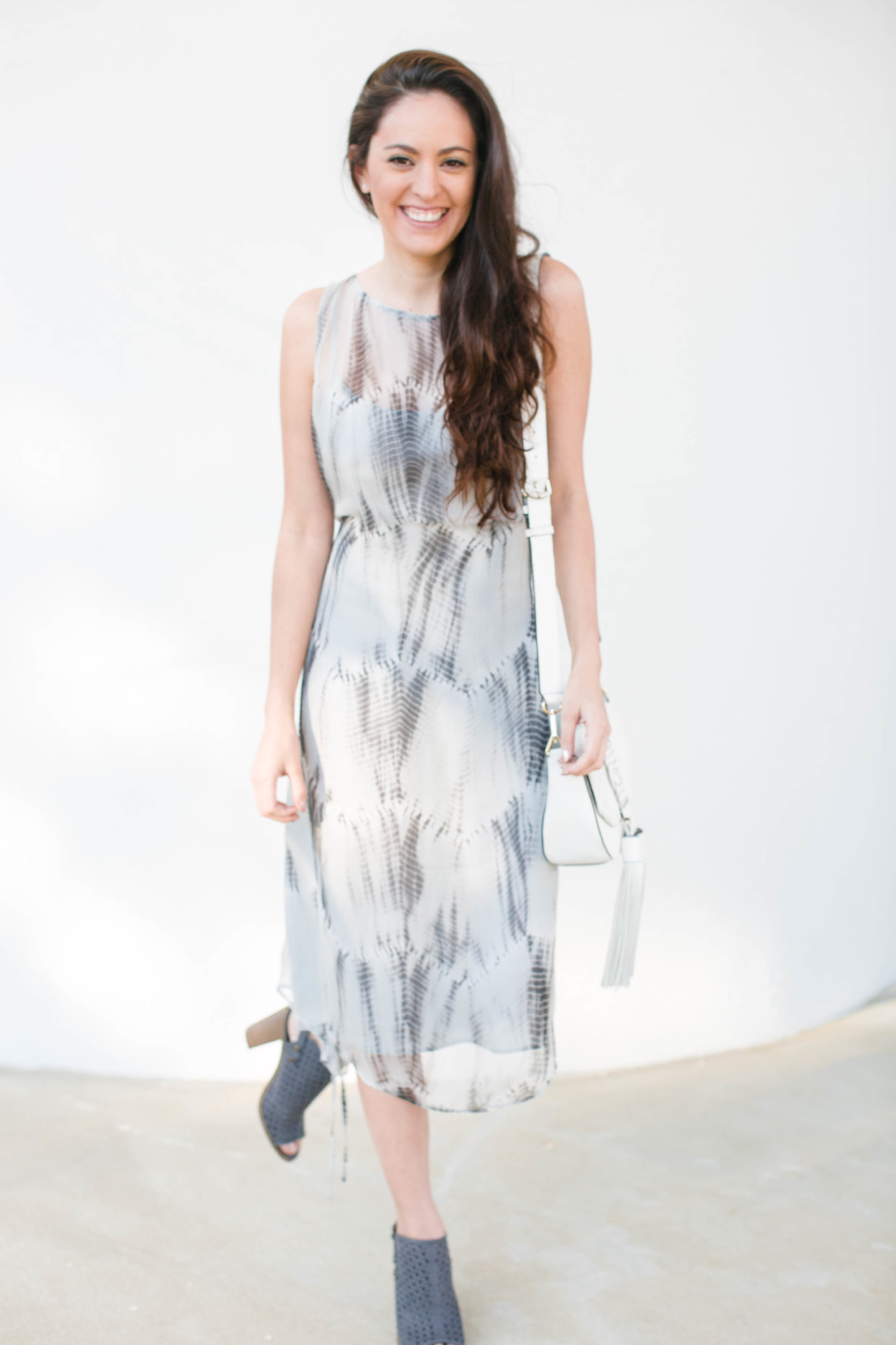 EILEEN FISHER at saks, winter to spring style, feminine spring style, silk dress
