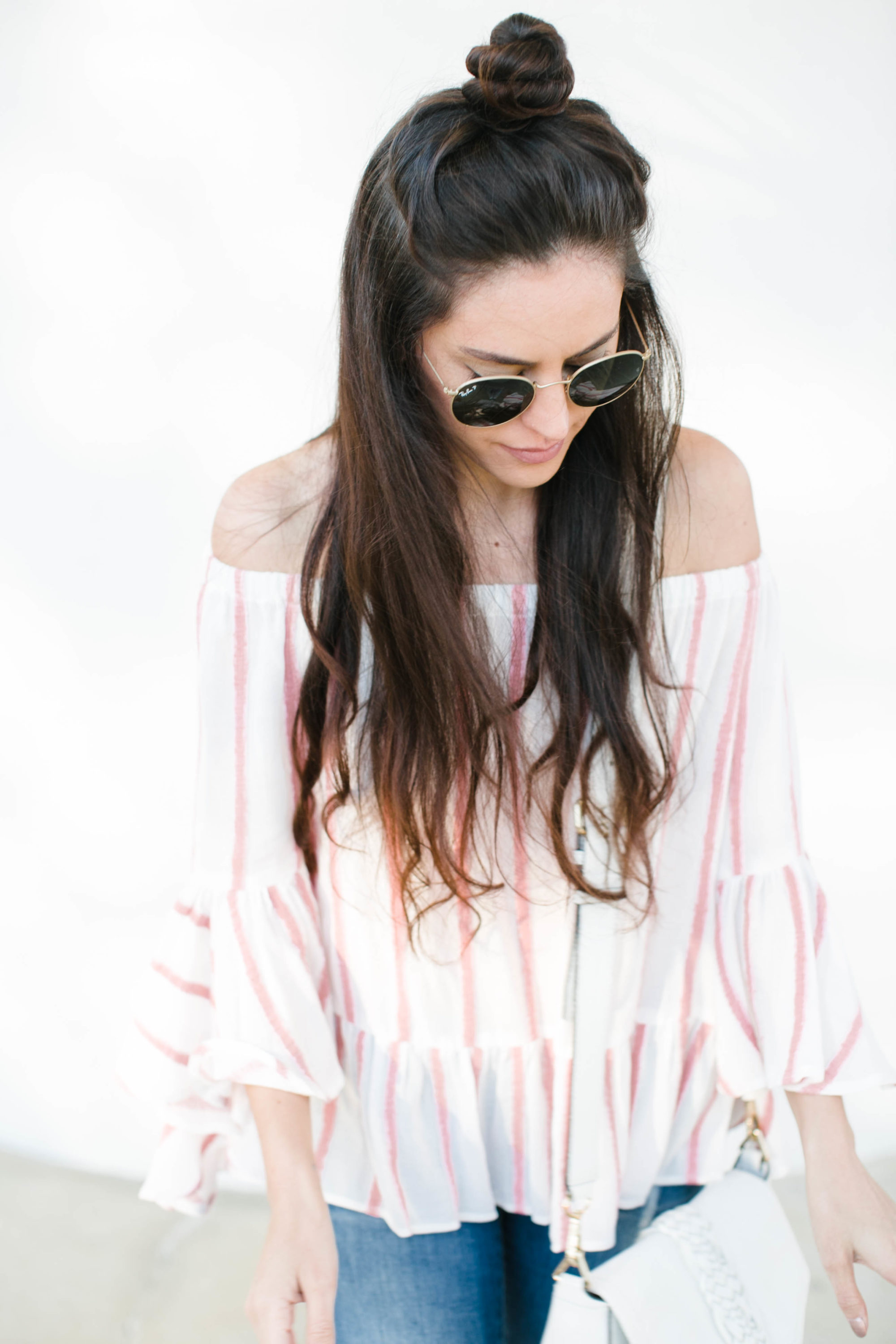 spring style, casual spring style, striped off the shoulder top, how to style an off the shoulder top, summer style, round ray-bans, chinese laundry chandy flats, rebecca minkoff white saddle bag