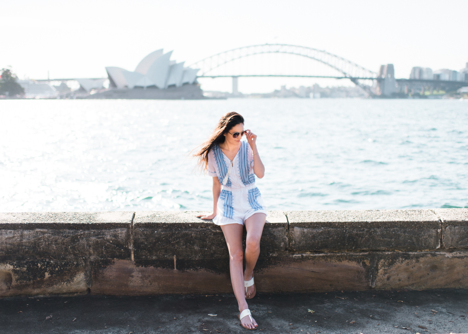 mrs macqueries chair, sydney, australia, best view of the sydney opera house, where to go in sydney, what to do in sydney, white and blue romper