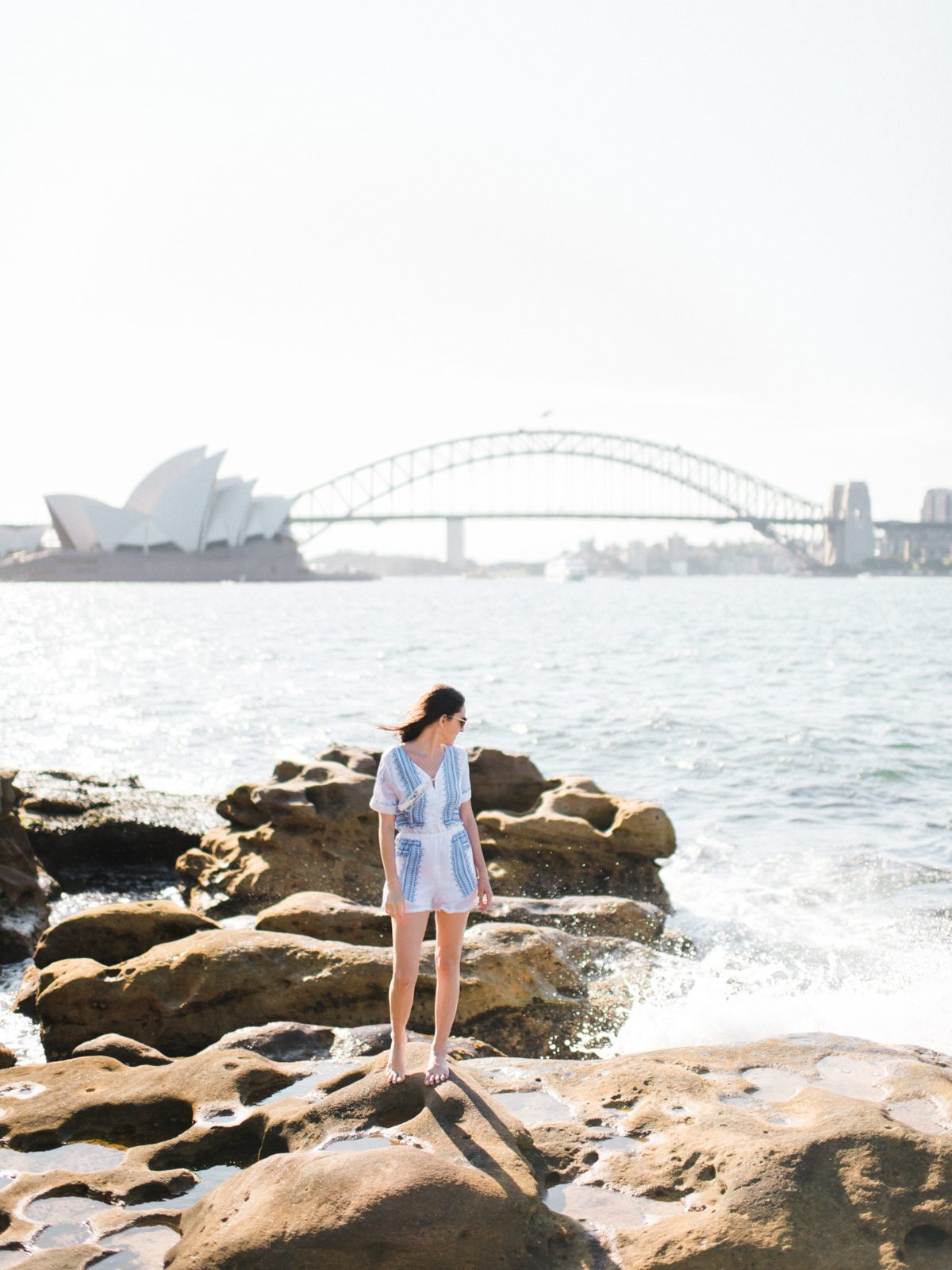 mrs macquerie's chair, sydney, australia, best view of the sydney opera house, where to go in sydney, what to do in sydney, white and blue romper