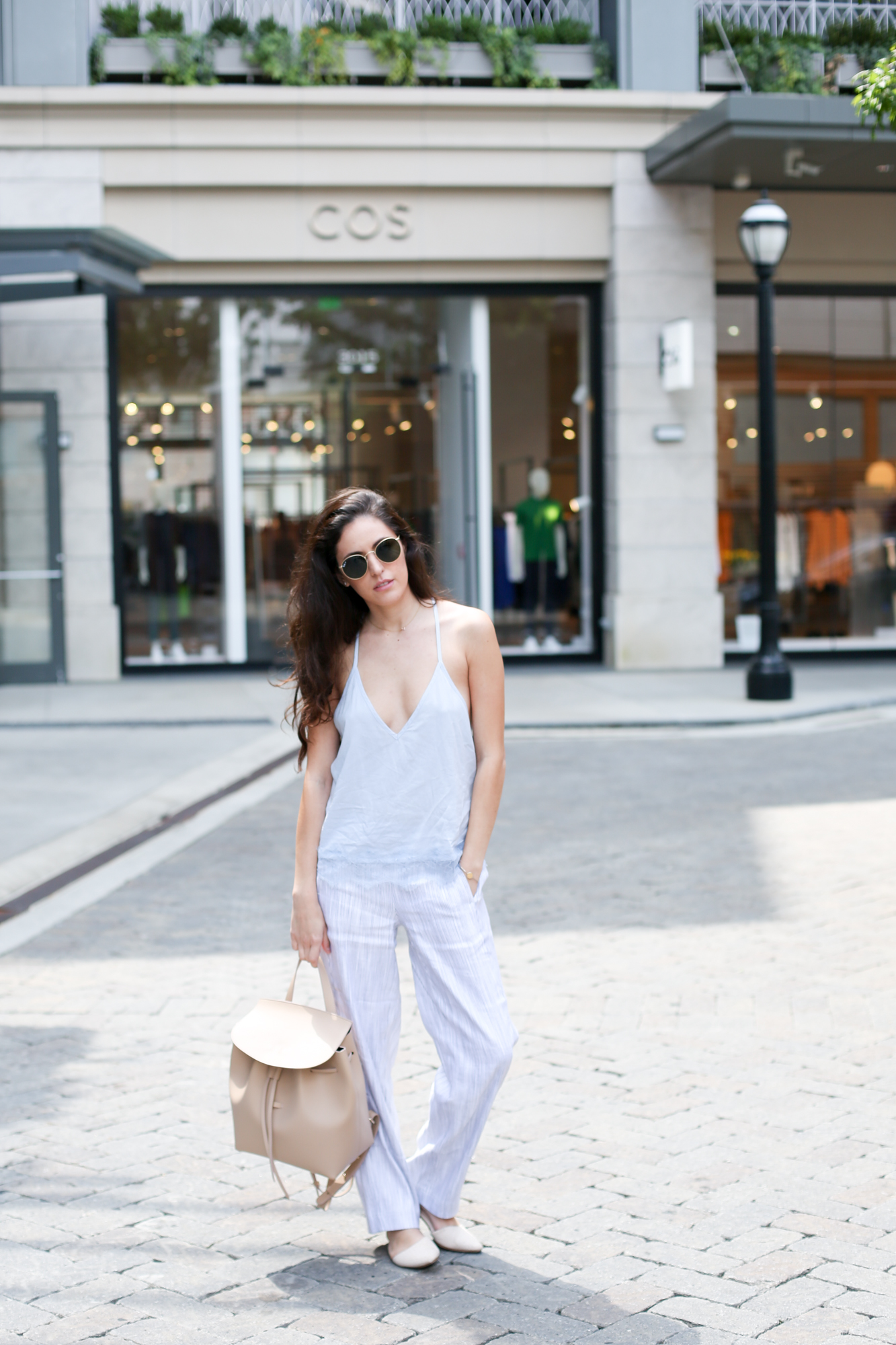 how to wear pajamas in the daytime, how to wear pajamas in public, how to style pajamas, chic pajama style, comfortable chic, armadio backpack, baby blue outfit ideas, casual outfit ideas, comfortable outfit ideas