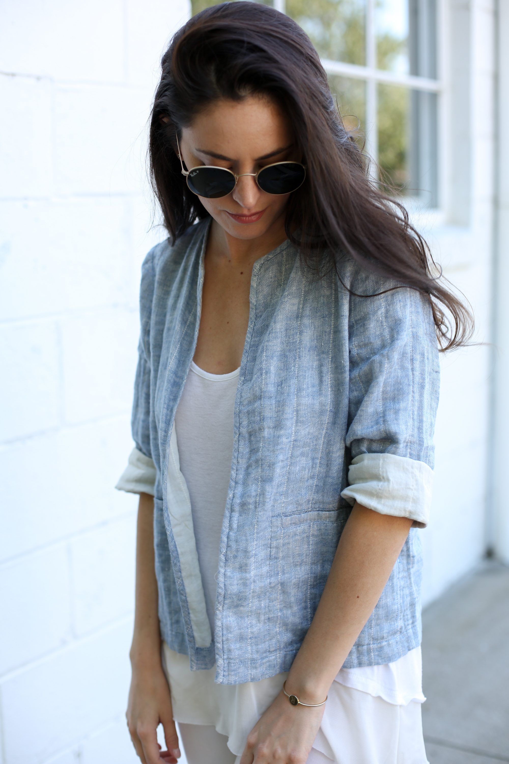 Eileen Fisher, blue and white, spring style, light colors, how to wear all white, spring outfit ideas