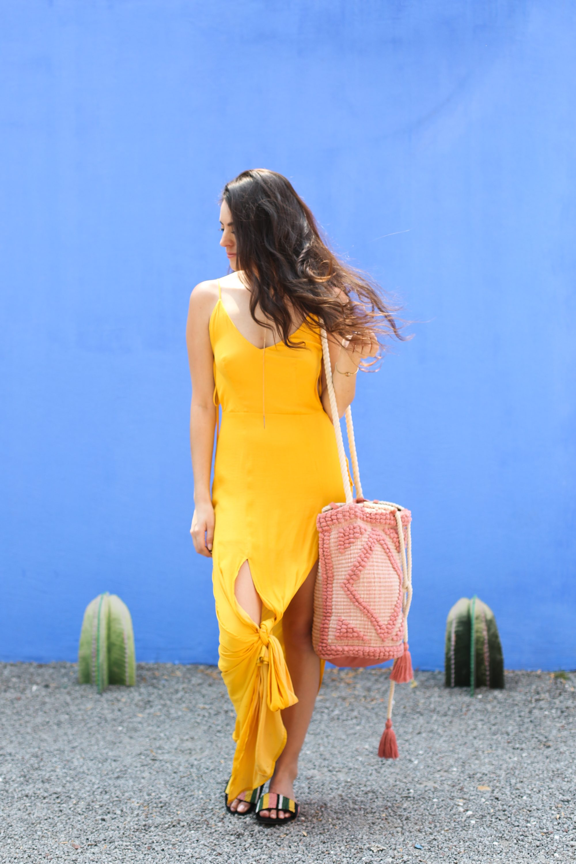 mexico city, what to wearin mexico city, vacation outfit ideas, tropical outfit ideas, yellow maxi dress, zara FLAT BEADED SLIDES multicolor, asos SOUTH BEACH DRAWSTRING SHOULDER BAG IN LULLABY PINK, south moon under Capulet Double Slit & Ties Maxi Dress