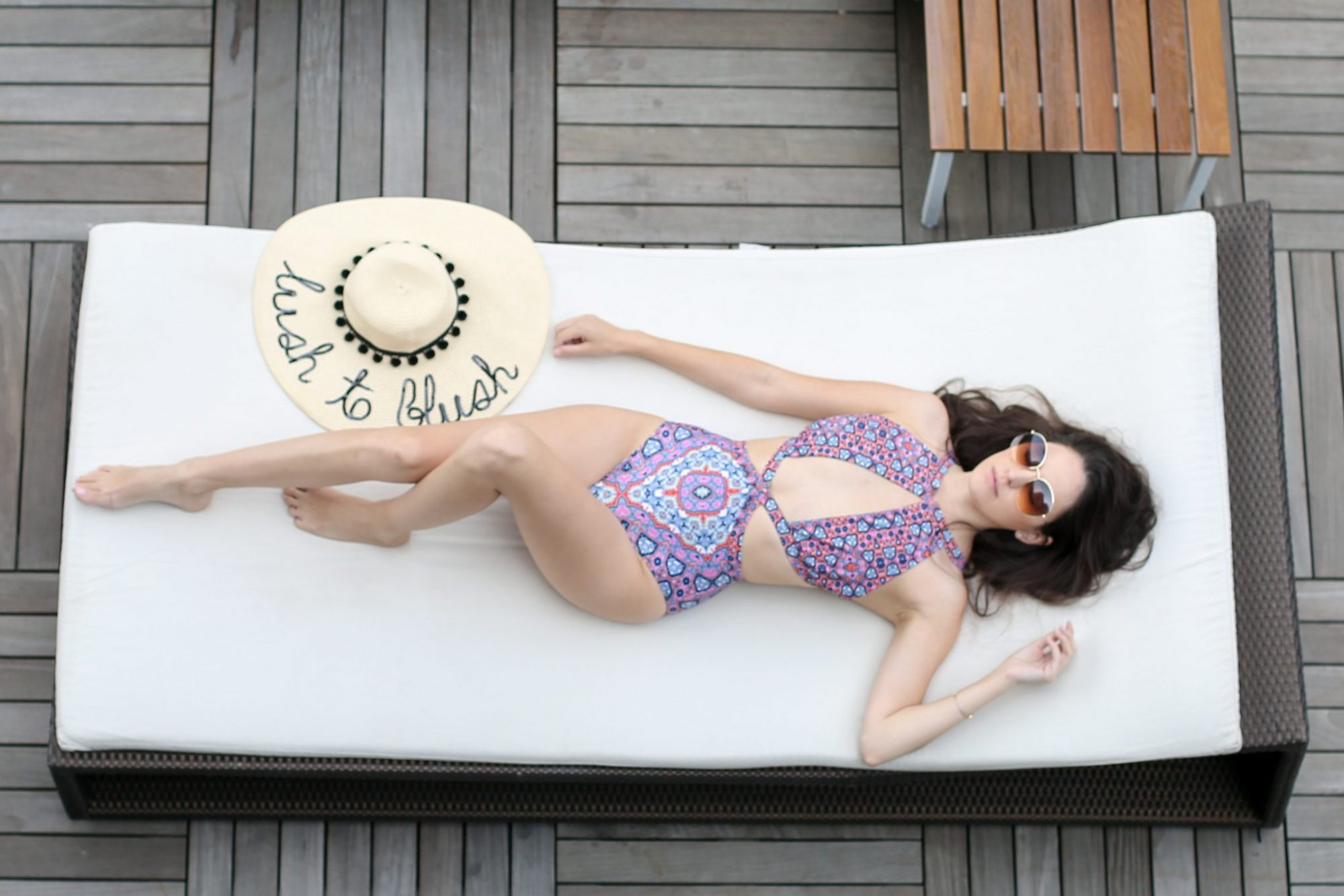 hyatt mexico city, where to stay in mexico city, laying out in mexico city, pools in mexico city, mink pink Wild For The Night Swimsuit, custom sunhat