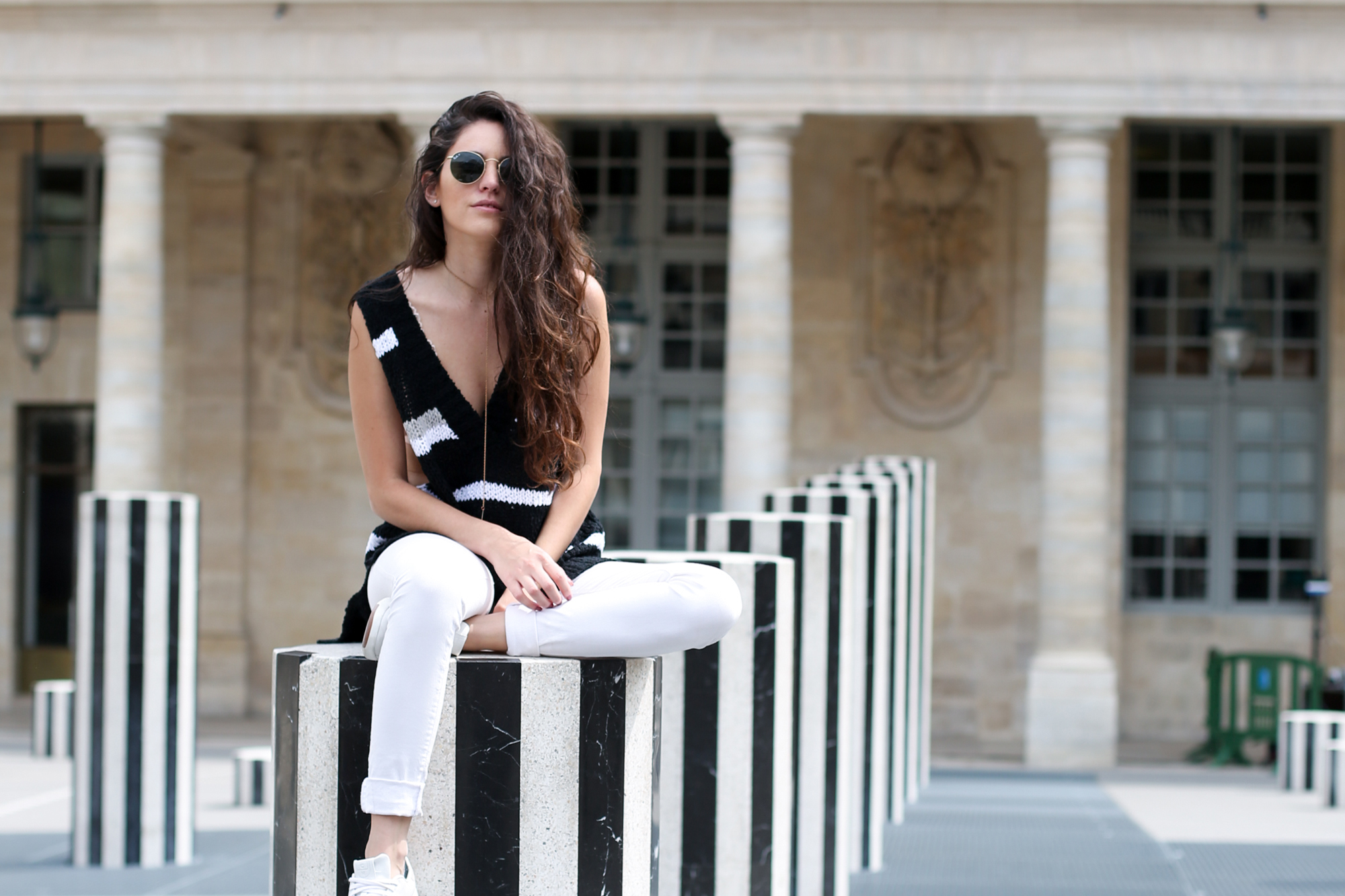 where to go in Paris, what to wear in paris, casual striped, spring outfit ideas, spring style, how to style a sweater tank, parisian style, casual parisian style, casual style, how to style sneakers, travel outfit ideas