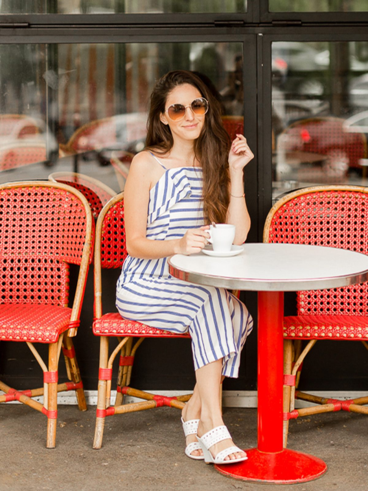 How to style a jumpsuit, cafes in paris, what to do in paris, how to wear a jumpsuit, what to wear in paris, what to wear in europe, summer outfit ideas, spring outfit ideas, spring style, summer style, round gold sunglasses
