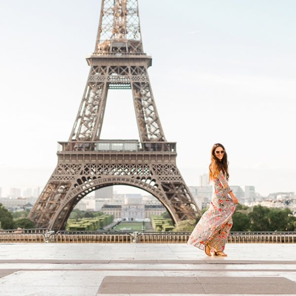 Trocadero, where to view the eiffel tower, best view of the eiffel tower, the eiffel tower at night, paris, zara LONG STRIPED AND FLORAL PRINT DRESS, katie donnelly photography, paris photography, photos in front of the eiffel tower, blogger trip to paris