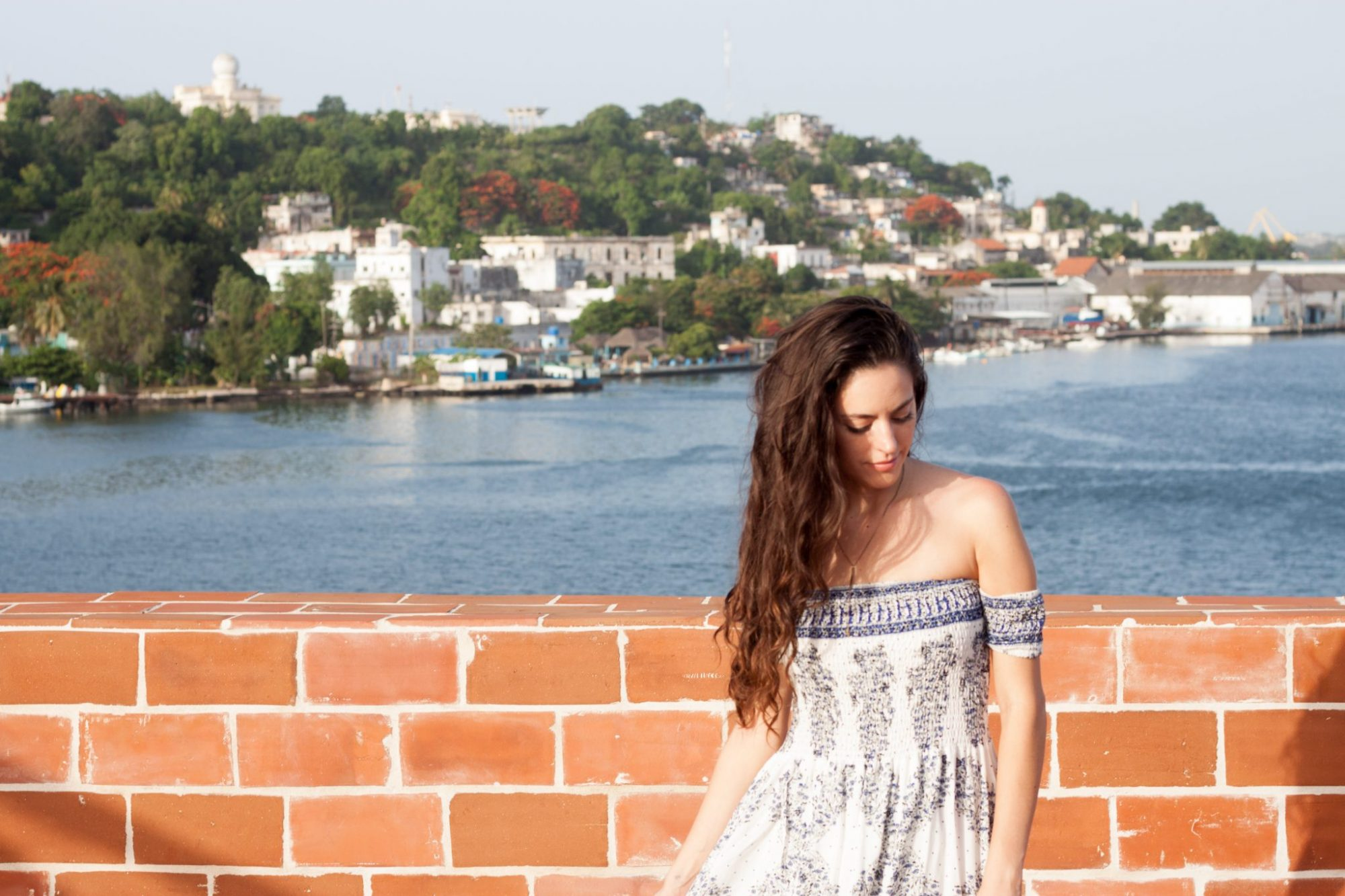 where to stay in havana, where to stay in cuba, airbnb in cuba, airbnb in havana, cuba, havana, blue and white maxi dress, american threads Reverse Allegra Off Shoulder Maxi Dress, cocktail hour, rooftop terrace in havana cuba,