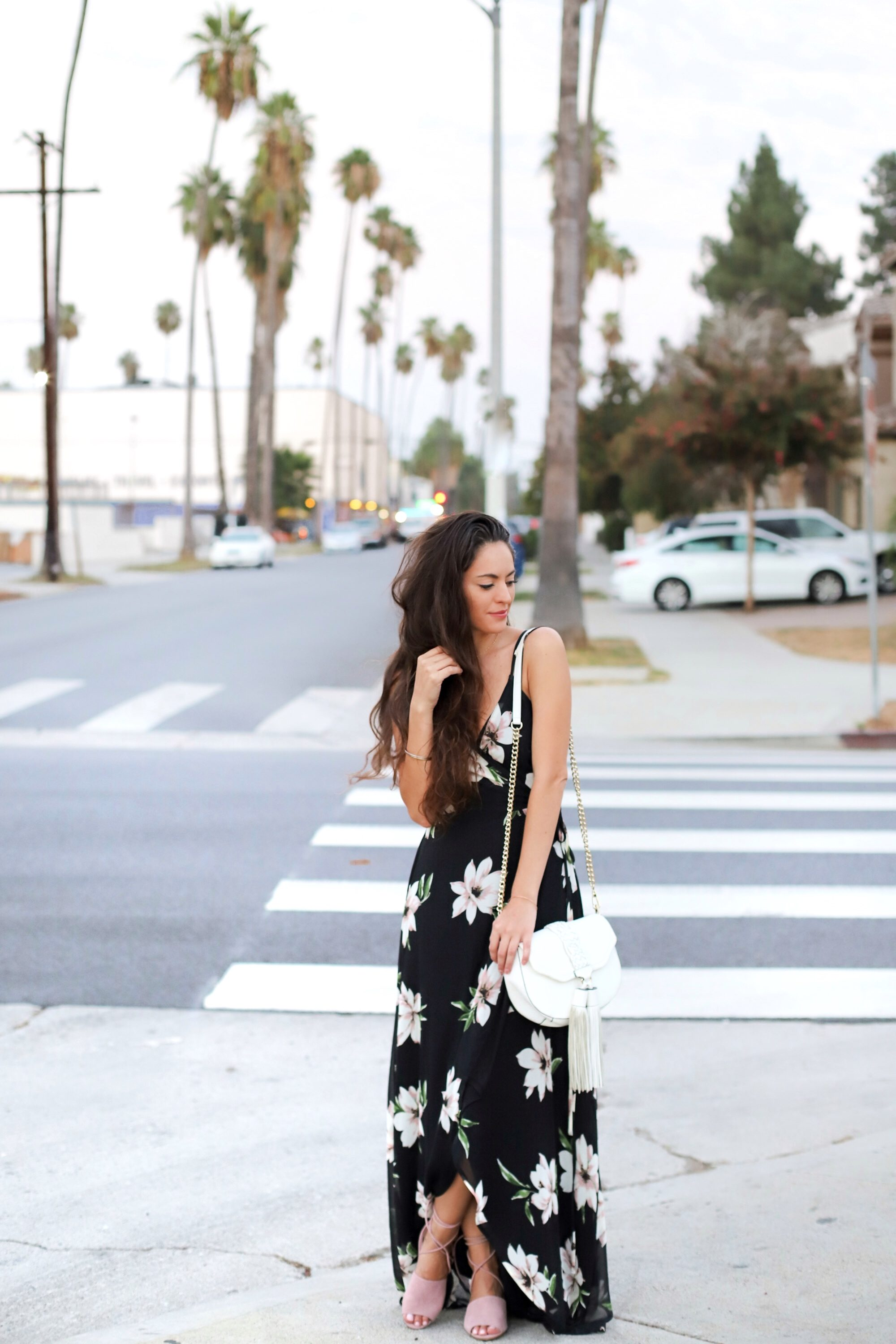 black and pink maxi, black maxi dress, black floral maxi dress, summer to fall outfit ideas, summer style, summer outfit ideas, fall wedding outfit ideas, Los Angeles, how to wear maxi dress for fall