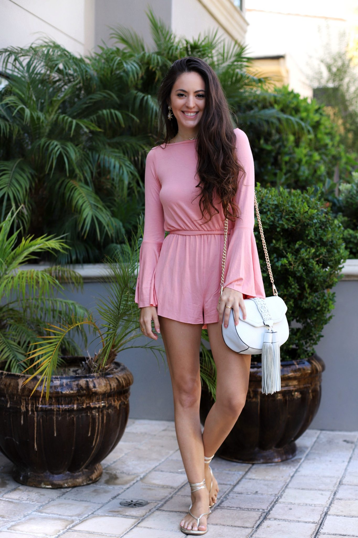 Clayton Georgina Romper - Quartz, backless romper, bell sleeves, bell sleeve romper, los angeles, la style, summer style, cute romper